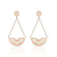 Boucles D'Oreilles Acier Rose Demi Rosaces - Boucles d'oreilles Pendantes Femme | Marc Orian