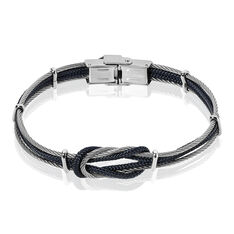 Bracelet Acier N?Ud Marin Cable Cordon Coton