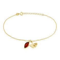 Bracelet Argent Dore Pampilles Ginkgo Ambre