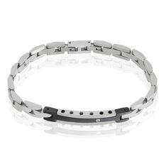 Bracelet Acier Plaque Bicolore