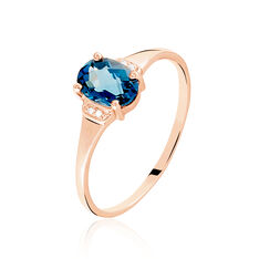 Bague Mathilde Or Rose Topaze London Blue