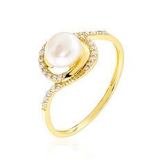 Bague Soleil Or Jaune Et Perles