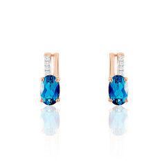 Boucles D'Oreilles London Blue Or Rose - Boucles d'oreilles Pendantes Femme | Marc Orian