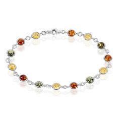 Bracelet Argent Pastilles Ambres Multicolores