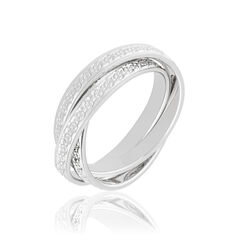 Alliance Or Blanc  3 Anneaux Diamantes