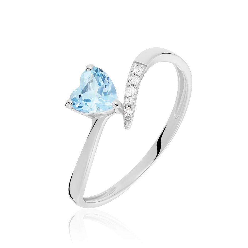 bague argent coeur pierre bleu oxyde de zirconium blanc
