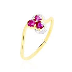 Bague Or Jaune Orchidea Fleur Rubis