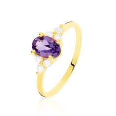 Bague Anaid Or Jaune Amethyste Oxydes