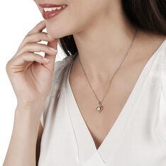 Collier Argent Coeur Perle De Culture Rose