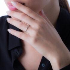 Bague Solitaire Or Blanc Superposition Simple Diamant