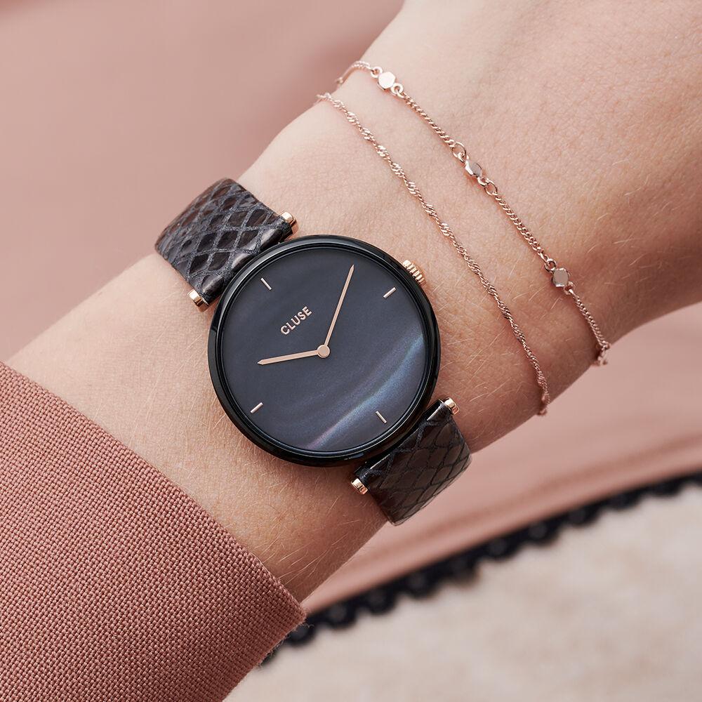 montre cluse femme bracelet cuir noir