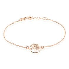 Bracelet Argent Rose Arbre De Vie Maille Forcat