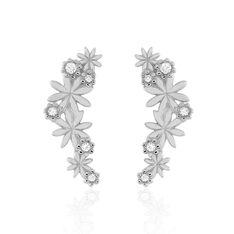 Bijoux D'Oreilles Argent Rhodie Fleura