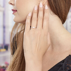 Bague Solitaire Plaque Or Accompagne
