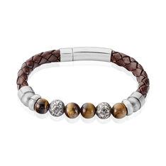 Bracelet Acier Boules Cuir Marron - Bracelets chaînes Homme | Marc Orian