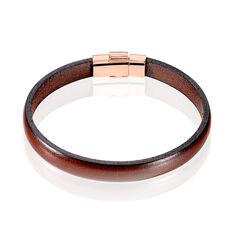 Bracelet Acier Rose Cuir