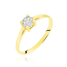 Bague Or Jaune Et Diamants 0.035ct