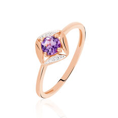 Bague Anaelle Or Rose Amethyste Diamants