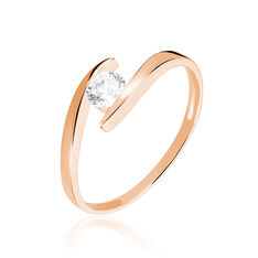 Solitaire Maylane Or Rose Couteau Oxyde