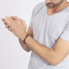 Bracelet Acier Cuir Tresse