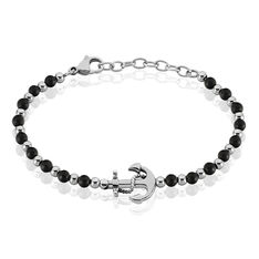 Bracelet Marino Acier Ancre Boules Onyx