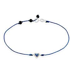 Bracelet Or Blanc Coeur Saphir