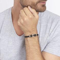 Bracelet Acier Cordons Noirs Et Or 21cm