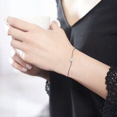 Bracelet Or Blanc Dimitra Cordon C?Ur Diamants