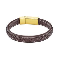 Bracelet Acier Dore Zen Cuir Marron