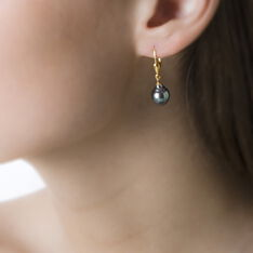 Boucles D'Oreilles Or Jaune  Perle