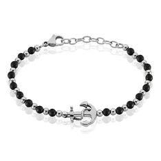 Bracelet Acier Ancre Multi Boules Onyx