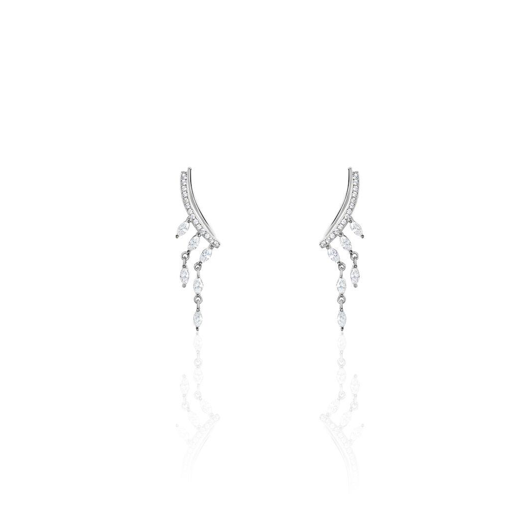 Bijoux D'Oreilles Argent Rhodie Salera Pendante Barette Oxyde - Boucles d'oreilles Ear cuffs Femme | Marc Orian