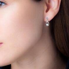 Boucles D'oreilles Puces Bethilda Argent Blanc Oxyde De Zirconium - Clous d'oreilles Femme | Marc Orian
