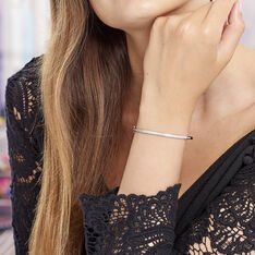 Bracelet Jonc Laurianne Argent Blanc Oxyde De Zirconium - Bracelets jonc Femme   Marc Orian