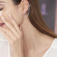 Bijoux D'oreilles Waltraud Argent Blanc - Boucles d'oreilles Ear cuffs Femme | Marc Orian