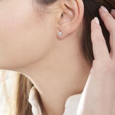 Boucles D'oreilles Puces Dorinia Or Blanc Diamant - Clous d'oreilles Femme | Marc Orian
