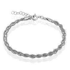 Bracelet Argent Rhodie Maille Coréenne - Bracelets fantaisie Femme | Marc Orian