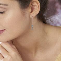 Boucles D'oreilles Pendantes Djime Or Blanc Topaze - Boucles d'oreilles Pendantes Femme | Marc Orian