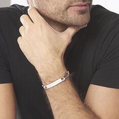 Bracelet Identité Vila Maille Alternee 1/2 Argent Blanc - Gourmettes Homme   Marc Orian