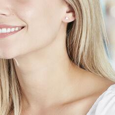 Boucles D'oreilles Puces Trilia Argent Blanc - Clous d'oreilles Femme | Marc Orian