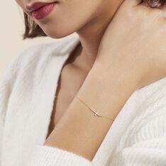 Bracelet Cobeia Croix Maille Forçat Or Jaune Oxyde De Zirconium - Bracelets chaînes Femme   Marc Orian