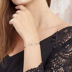 Bracelet Jonc Ludvinia Argent Blanc - Bracelets fantaisie Femme | Marc Orian