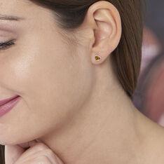 Boucles D'oreilles Puces Delvinaae Argent Blanc Ambre - Clous d'oreilles Femme | Marc Orian