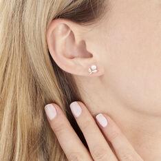 Boucles D'oreilles Puces Frigga Or Jaune Perle De Culture Et Oxyde - Clous d'oreilles Femme | Marc Orian