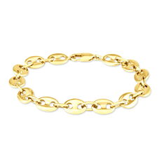 Bracelet William Maille Grain De Cafe Plaque Or Jaune - Bracelets mailles Homme | Marc Orian