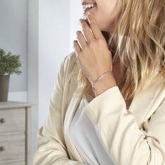 Bracelet Identité Cleona Maille Alternee 1/3 Argent Blanc - Bracelets fantaisie Femme | Marc Orian