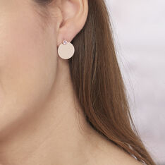 Bijoux D'oreilles Argent Rose Aleksandra Pastille Oxyde - Boucles d'oreilles Ear cuffs Femme | Marc Orian