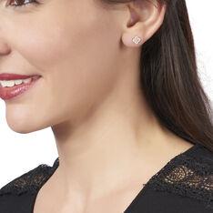 Boucles D'oreilles Puces Maylice Or Bicolore Diamant - Clous d'oreilles Femme | Marc Orian