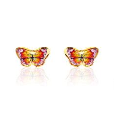 Boucles D'oreilles Puces Sulivia Papillon Or Jaune - Clous d'oreilles Enfant | Marc Orian