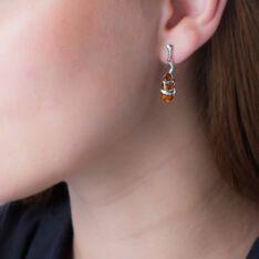 Boucles D'oreilles Pendantes Melusine Argent Blanc Ambre - Boucles d'oreilles Pendantes Femme | Marc Orian